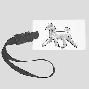 poodle white Luggage Tag
