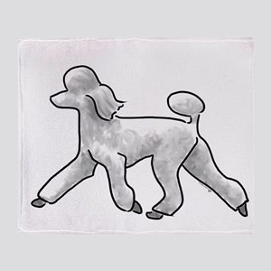 poodle white Throw Blanket