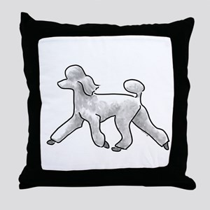 poodle white Throw Pillow