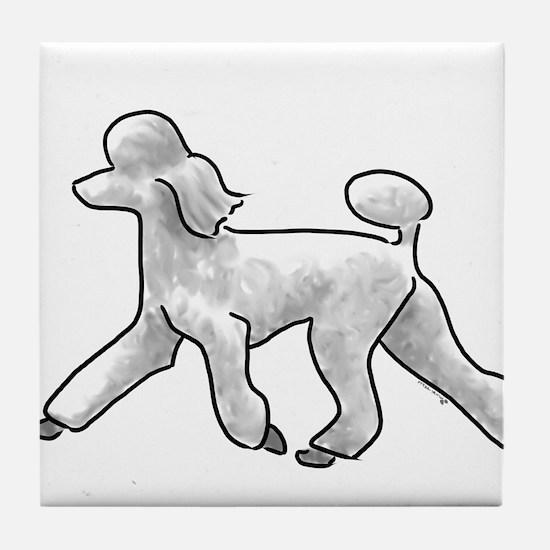 poodle white Tile Coaster