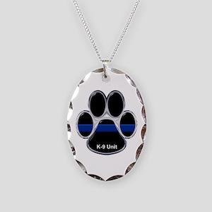 K-9 Unit Thin Blue Line Necklace Oval Charm
