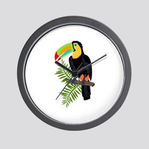 TOUCAN AND PALM LEAVES Wall Clock