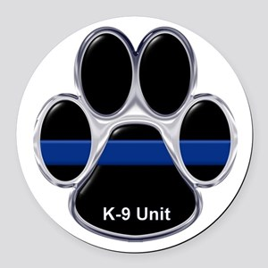 K-9 Unit Thin Blue Line Round Car Magnet