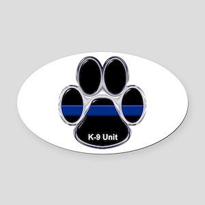 K-9 Unit Thin Blue Line Oval Car Magnet