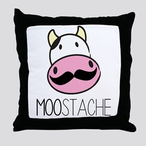 MOOstache Throw Pillow