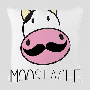 MOOstache Woven Throw Pillow