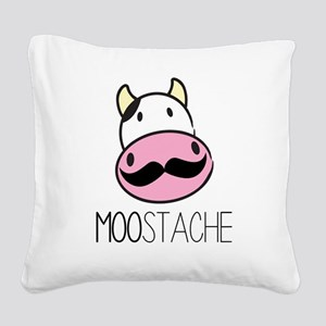 MOOstache Square Canvas Pillow