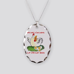 Wicked Chickens lay Deviled Eg Necklace Oval Charm