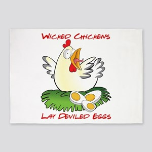 Wicked Chickens lay Deviled Eggs 5'x7'Area Rug