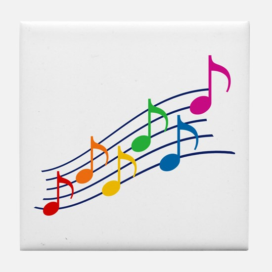 Rainbow Music Notes Tile Coaster
