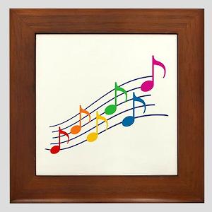 Rainbow Music Notes Framed Tile