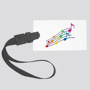 Rainbow Music Notes Large Luggage Tag