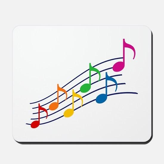 Rainbow Music Notes Mousepad