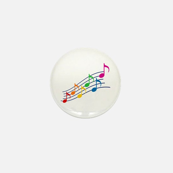 Rainbow Music Notes Mini Button