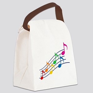 Rainbow Music Notes Canvas Lunch Bag