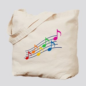 Rainbow Music Notes Tote Bag