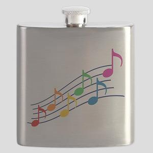Rainbow Music Notes Flask
