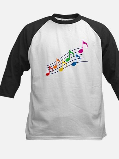 Rainbow Music Notes Kids Baseball Jersey