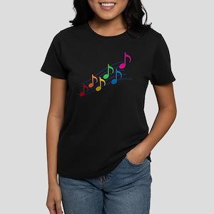 Rainbow Music Notes Women's Dark T-Shirt