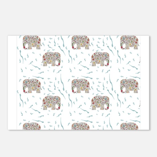 Floral Elephant in Water Postcards (Package of 8)