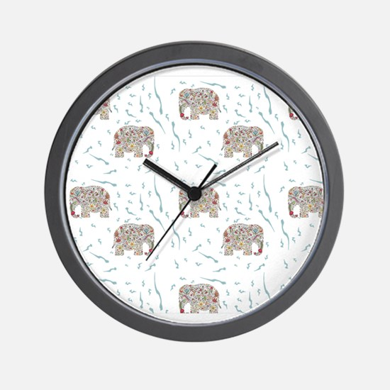 Floral Elephant in Water Wall Clock