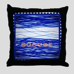Sports Blue Soccer Throw Pillow