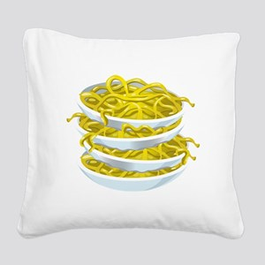 Bowls Of Noodles Square Canvas Pillow