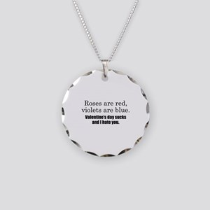 Roses Are Red Necklace Circle Charm