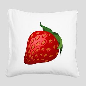 Strawberry Square Canvas Pillow
