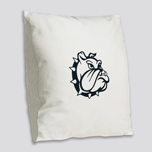ONE COLOR BULLDOG Burlap Throw Pillow
