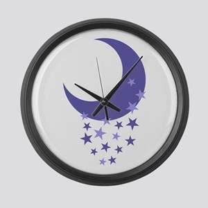 MOON AND STARS Large Wall Clock
