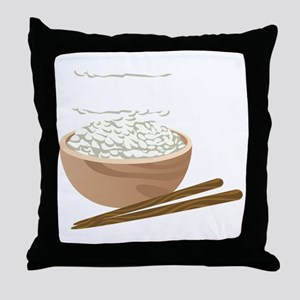 White Rice Throw Pillow