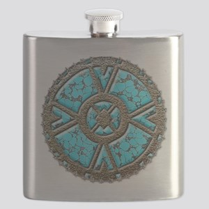 Native Turquoise Faux Art Flask