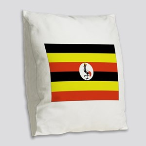 Uganda flag Burlap Throw Pillow