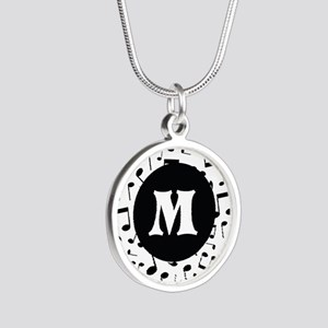 Music Monogram Personalized Silver Round Necklace