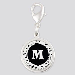 Music Monogram Personalized Silver Round Charm