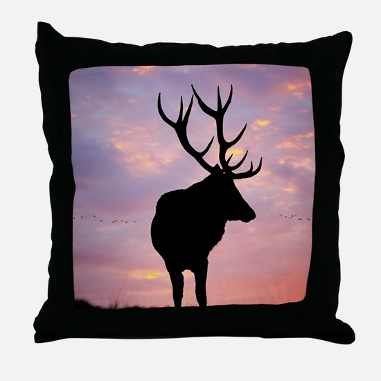 Stag And Sunset Throw Pillow