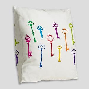 Skeleton Keys Burlap Throw Pillow