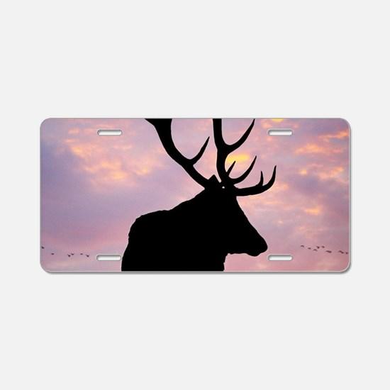 Stag And Sunset Aluminum License Plate