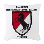 11TH ARMORED CAVALRY REGIMENT Woven Throw Pillow