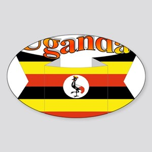 Ugandan ribbon Sticker (Oval)