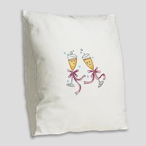 CHAMPAGNE TOAST Burlap Throw Pillow