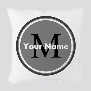 Custom Initial And Name Woven Throw Pillow