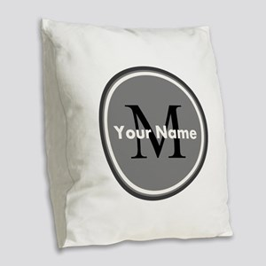 Custom Initial And Name Burlap Throw Pillow