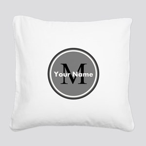 Custom Initial And Name Square Canvas Pillow