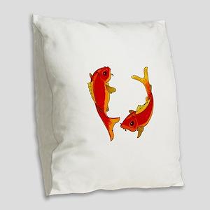 FISH Burlap Throw Pillow