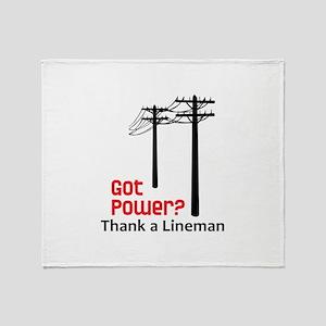 Got Power ? Thank A Lineman Throw Blanket