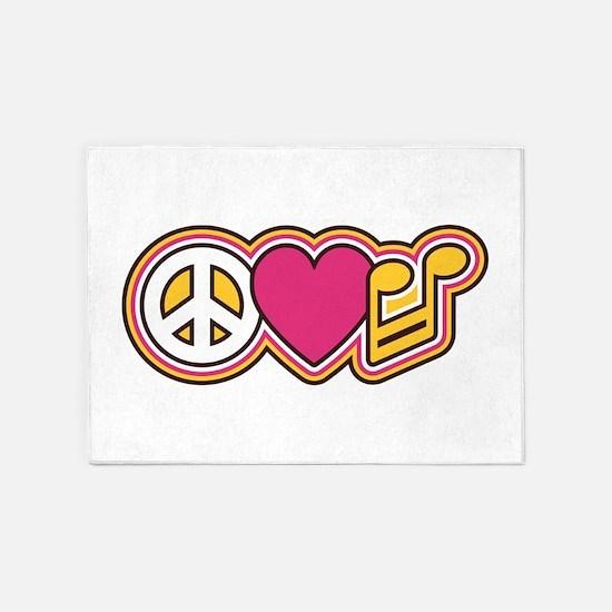 Peace Love Music 5'x7'Area Rug