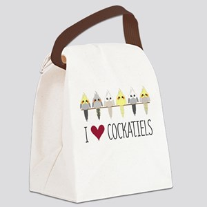 I Love Cockatiels Canvas Lunch Bag