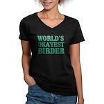 World's Okayest Birder Women's V-Neck Dark T-Shirt